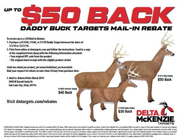 image about Printable Deer Targets known as Rebates - Delta McKenzie